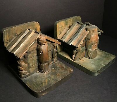 Rare Salish Long House Model Bookends By Simon Charlie (1920-2005),excellent,nr!