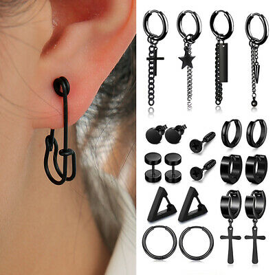 Women Men's Gold Black Unique Safety Pin Earrings Ear Stud Dangle Punk Jewelry