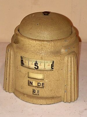 Vtg Art Deco Westclox Observatory Tape Measure Rotary Calendar Alarm Table Clock