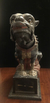 Vintage cast iron mechanical Bull Dog bank J.& E. Stevens c. 1880