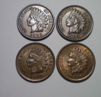 1895 Xf, 1905 Au, 1906 Au And 1907 Au Indian Cent