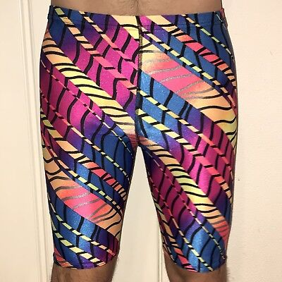 Vtg 80s 90s Mens SMALL Spandex athletic LYCRA Abstract Print Neon AEROBIC shorts