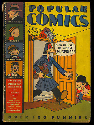 Popular Comics #24 Nice Early Golden Age Dick Tracy Gumps Dell 1938 GD-VG
