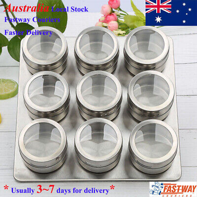 9 Piece Magnetic Spice Rack Space Saver w/ See Through Lid Kitchen Seasoning Can