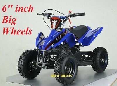 "49Cc Starter Mini Quad Bike 6"" Wheel Atv Buggy Kids 4 Wheeler Pocket Dirt Blue"