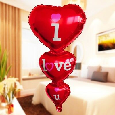 I LOVE YOU Red Heart Foil Balloons Valentine's Day Romantic Gift Wedding Party