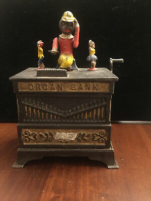 Vintage Kyser and Rex Mechanical Girl and Boy organ  mechanical bank c. 1889