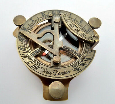 """Nautical Brass Compass Sundial Antique Finish Size 3"""" Engraved"""