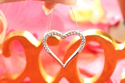 """0.15 Ct Diamond Valentine Heart Pendant With 18"""" Chain 14K Rose Gold Fn"""