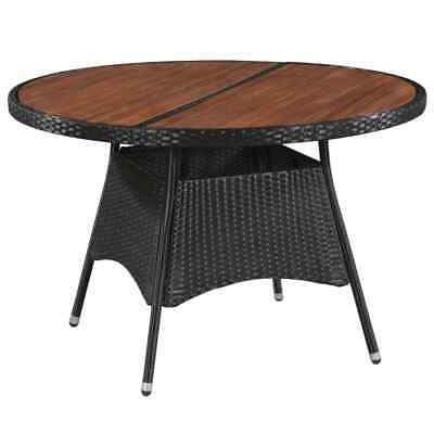 vidaXL Outdoor Dining Table Poly Rattan and Solid Acacia Wood 115x74cm Garden