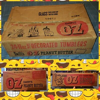 VTG The WIZARD OF OZ Original Swifts Peanut Butter JAR Packing Box Display OLD!
