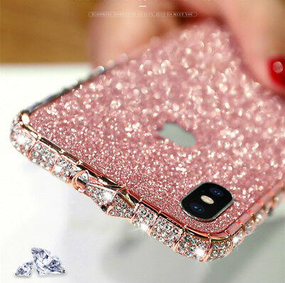 Bling Diamond Metal Bumper Case Glitter Sticker For iPhone X XS Max 7 8 Plus 6S