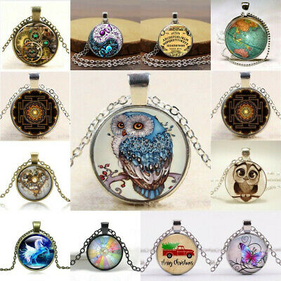 Women Men Cabochon Glass Pendant Silver Bronze Chain Lucky Necklace Jewelry