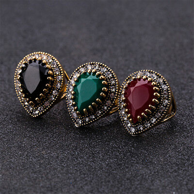 Boho Black Stone Ring Antique Gold Mosaic Crystal Turkish Vintage Red Rings Z