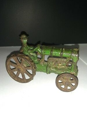 OLD SMALL c.1910-1920 ANTIQUE CAST IRON TOY FARM TRACTOR