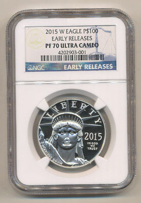 2015-W $100 Platinum Eagle NGC PF70 EARLY RELEASES Proof Eagle LOWEST MINTAGE