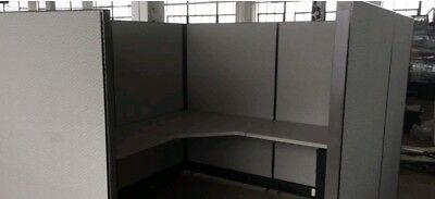 Herman Miller Office cubicle partition panels w desktop and dividers.