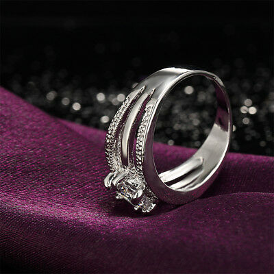 Crystal Flower Ring Engagement Rings Women Elegant Wedding Ring Jewelry Gift Z
