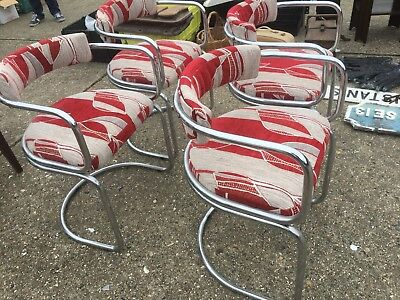 Set of 4 retro tubular chrome cantilever dining chairs - mid century 1960's 70's