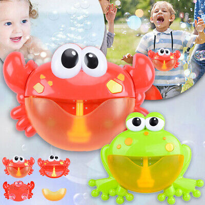 Kid Baby Bubble Tub Frog Crab Automatic Shower Music Machine Blower Maker Toy