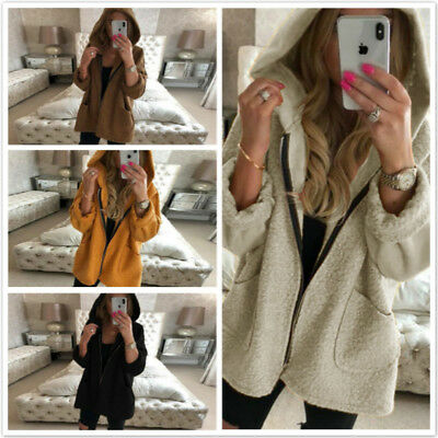 Women Warm Soft Thick Plush Zipper Overcoat Mid-Long Hooded Sweatshirt BS