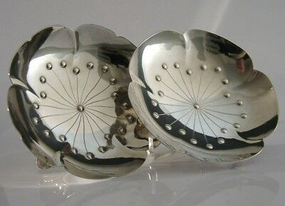 PRETTY PAIR OF JAPANESE STERLING SILVER FLOWER DISHES c1940s