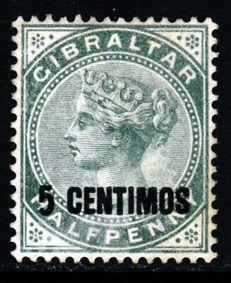 GIBRALTAR Queen Victoria 1889 5 CENTIMOS Surcharge on ½d. Green SG 15 MNG