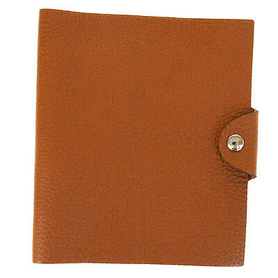 Authentic HERMES Agenda Ulysse Day Planner Note Cover Togo Leather Brown 02V1006