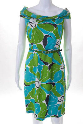 bd8740df9deb David Meister Blue Multi Color Floral Silk Sleeveless Belted Dress Size 2
