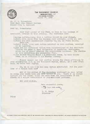 Southwest Museum Los Angeles CA 3/27/1945 Letter to J G Braecklein Kansas City