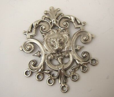Old Solid Silver Decorative LION Crest Pendant or Brooch