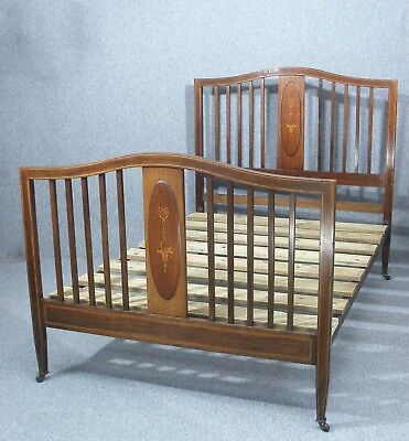Lovely Antique Inlaid Mahogany Double Bed