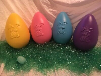 Blow Mold Giant Easter Eggs Pastel Colored Grand Venter Mold Lot Of 4
