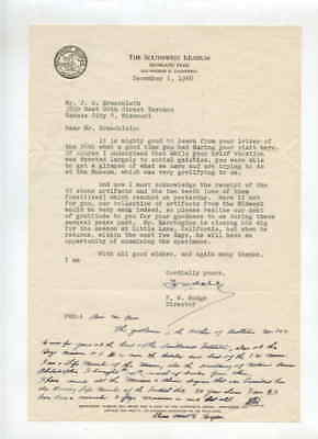 Southwest Museum Los Angeles CA 12/1/1948 Letter to J G Braecklein Kansas City