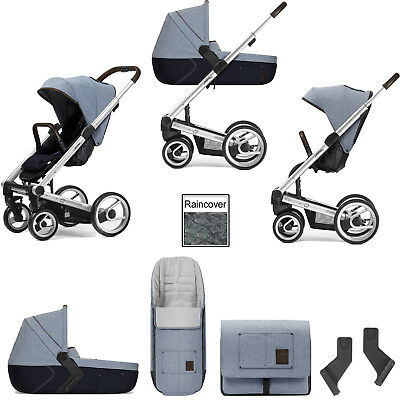 Mutsy I2 Farmer Sky Silver Frame 3 In 1 Pushchair Carrycot & Accessories