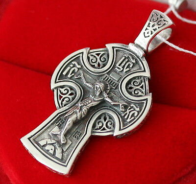 Greek Orthodox Icon Cross Sterling Silver 925 Old Style Celtic Antique Design