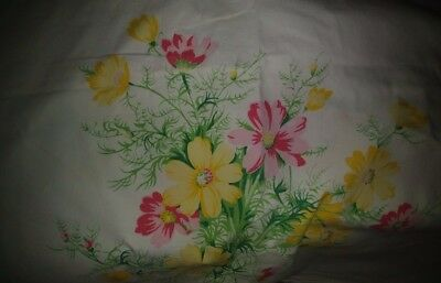 "Beautiful Vintage 52 By 55"" White Tablecloth Spring Brightly Colored Flowers"
