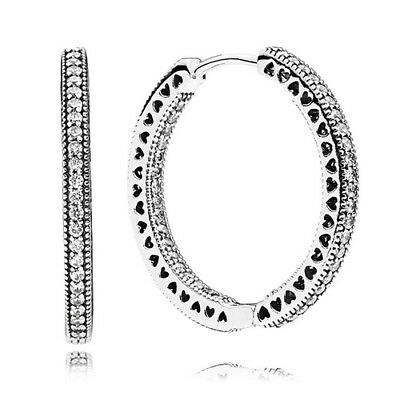 1d4a5c28a New Authentic Pandora Of Hearts Hoop Large Earrings 925 Silver Clear CZ  296319CZ