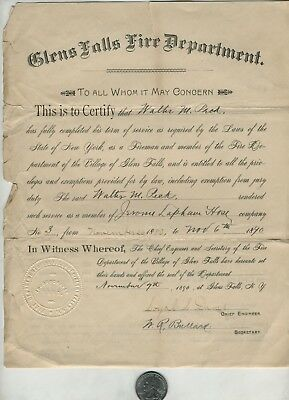 1890 Glens Falls NY Fire Department Exemption & Entitlement Document