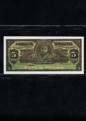 Early Mexico Currency, 5 Pesos Note, Early Reprint