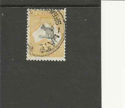 Sg111 Australia 5/- Shilling Grey+Yellow Roo Used Stamp Cat £80