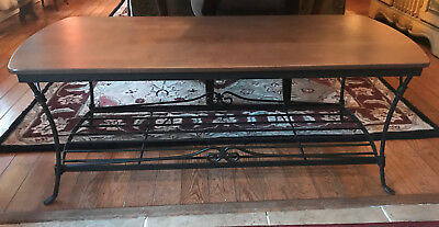 Longaberger Wrought Iron Coffee Table #61806 in Rich Brown - Woodcraft Shelf