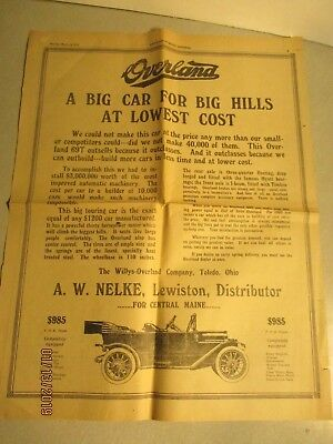 1913 Lewiston Maine Journal Auto Ads: Overland;stutz;nyberg;cartercar;stanley