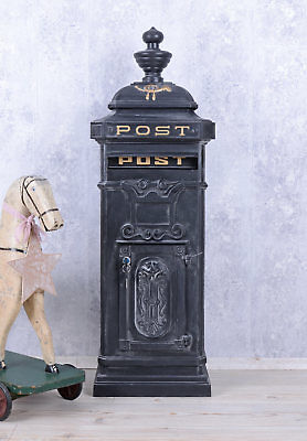 Antique post box letter box contry style freestanding cast mail grey aluminium