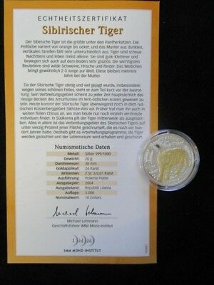 Liberia, 10 Dollars, 2004 PP, Sibirischer Tiger, Brillanten und Goldapplikation