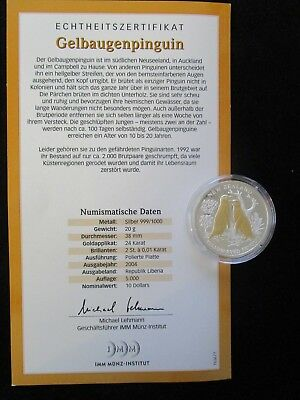 Liberia, 10 Dollars, 2004 PP, Gelbaugenpinguin, Brillanten und Goldapplikation