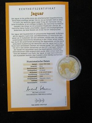 Liberia, 10 Dollars, 2005 PP, Jaguar, Brillanten und Goldapplikation