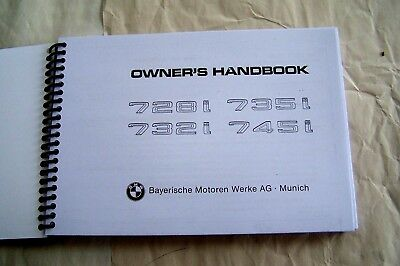 BMW 7 series euro Owners Manual Service 745i 735i 732 728 new factory reprint