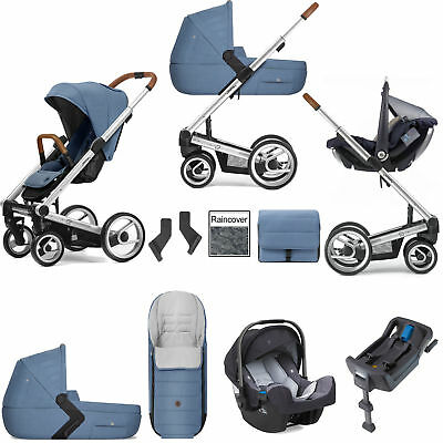 Mutsy I2 Heritage Blue Silver Frame Pipa Icon Travel System & Accessories