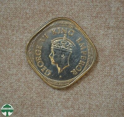 1944 Bombay, India - 2 Anna -  Brockage Error Coin - Uncirculated Details